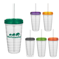 Econo 16 Oz. Double Wall Tumbler With Lid And Straw
