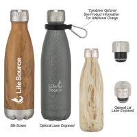 16 Oz. Stainless Steel Woodtone Vacuum Bottle