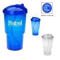 16 Oz. Double Wall Travel Tumbler With Straw