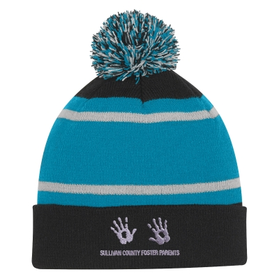 d172f434356 1098 Tri-Tone Striped Pom Beanie With Cuff - Hit Promotional Products