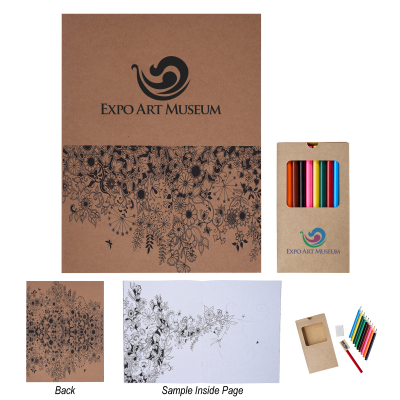 8999 Adult Coloring Book With Colored Pencils - Hit Promotional Products