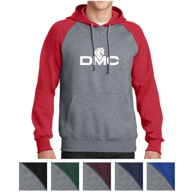 Sport-Tek Raglan Colorblock Pullover Hooded Sweatshirt Navy M