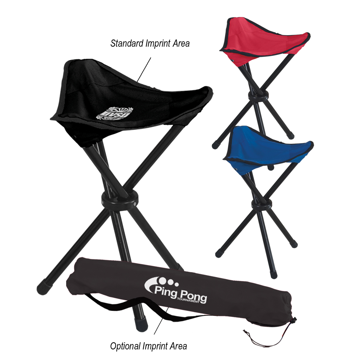 7043 Folding Tripod Stool With Carrying Bag