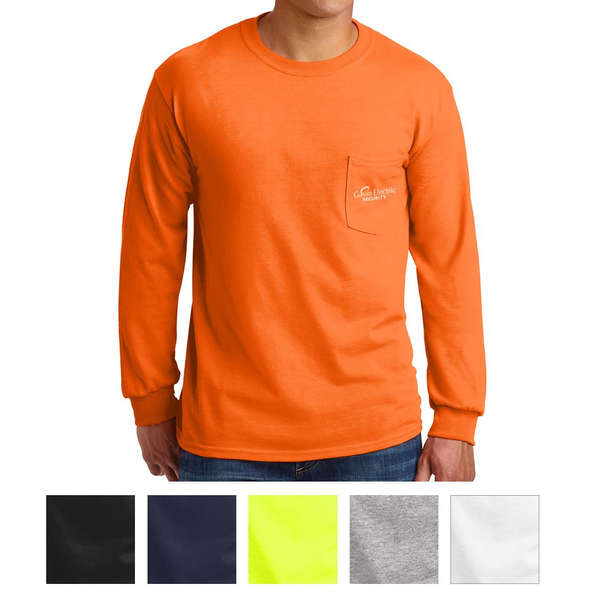 b3e76452661  G2410 Gildan® Ultra Cotton® 100% Cotton Long Sleeve T-Shirt with Pocket