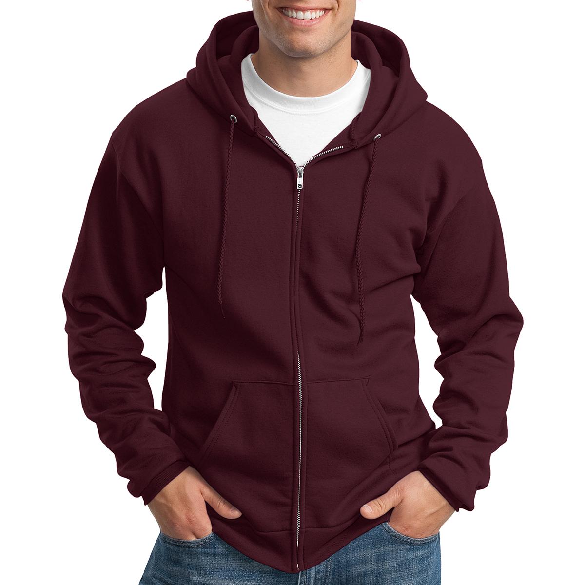 Core Fleece Full-Zip Hooded Sweatshirt Port /& Company PC78ZH Heather Red XL
