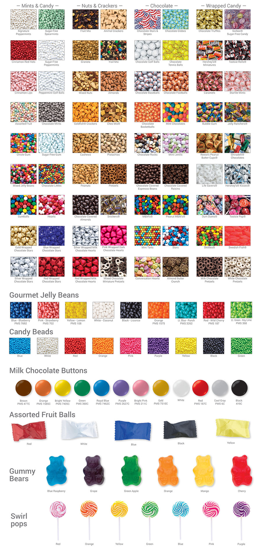 Standard Flavors & Fillings | Gourmet Jelly Beans | Candy Beads | Milk Chocolate Buttons | Assorted Fruit Balls | Gummy Bears | Swirl Pops